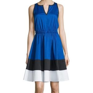 Kate Spade Colorblock Fit And Flare Dress Stripe
